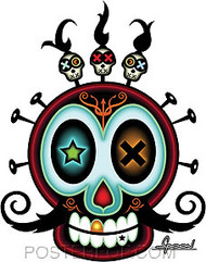 Chico Von Spoon XO Skull Sticker Image