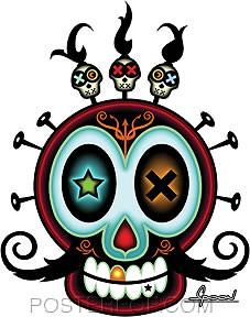 Chico Von Spoon XO Skull Sticker Image