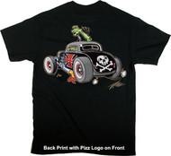 Pizz Skull Rod T-Shirt Image