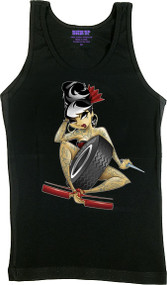 Tyson McAdoo Wheel Girl Woman's Ribbed Boy Beater Tank Top Image