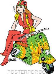 Kozik Scooter Girl Sticker Image