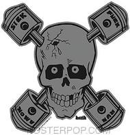 Kozik Sick Piston Skull Sticker Image