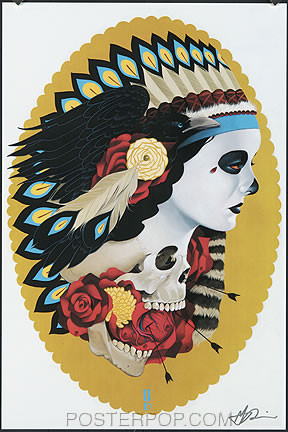 Gustavo Indian Girl Hand Signed Print Image