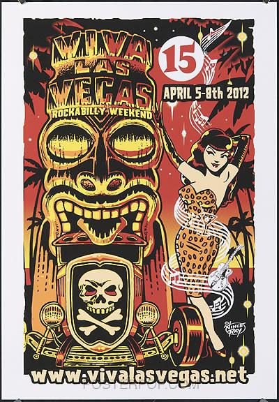 Vince Ray Viva Las Vegas 15 Silkscreen Event Poster 2012 Image