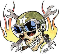 Pizz Ace Skull Sticker Image