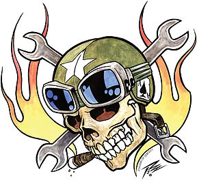 Pizz Ace Skull Sticker Image