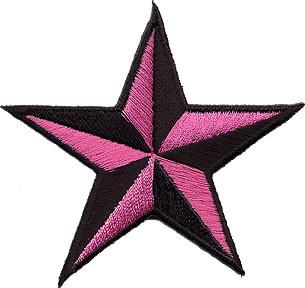 Star 3-D Pink-Black Patch Image