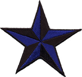 Star 3-D Blue-Black Patch Image