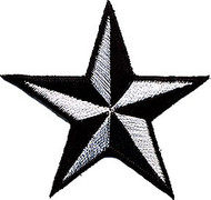Star 3-D Silver-Black Patch Image