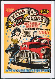 Vince Ray Viva Las Vegas 16 Silkscreen Event Poster 2013 Image