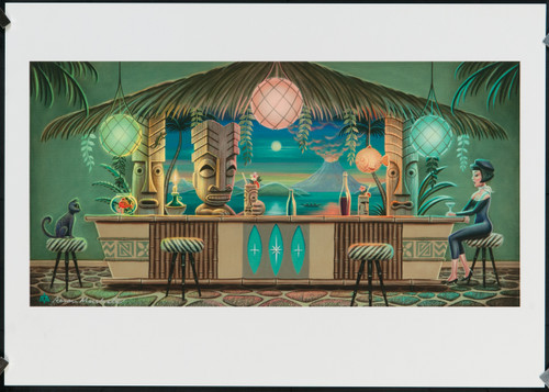 "Aaron Marshall Tiki Bar 11x17"" Hand Signed Artist Print"