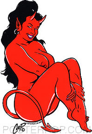Coop Sitting Devil Girl Sticker Image Right Facing