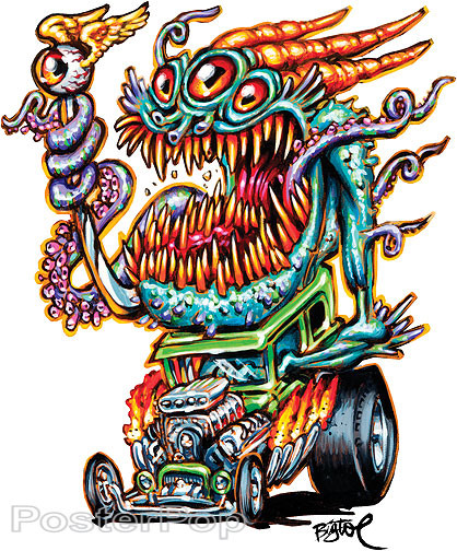 BigToe Deep One Hotrod Sticker Image