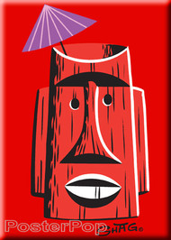 Shag Red Tiki Mug Fridge Magnet. Josh Agle tiki Farm Tiki Mug Drink with Umbrella RED