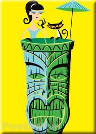 Artist Josh Agle Shag Tiki Drink Fridge Magnet. Shag Girl and Shag Cat sipping Alcohol in a Shag Tiki Mug, with Umbrella by Poster Pop YELLOW