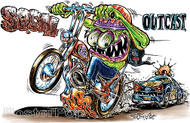 Von Franco SoCal Outcast Sticker, Cartoon 60's Ed Roth Monster on a Motorcrcle being chased by Da Cops, Funny sticker.