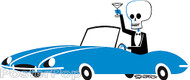 Shag British Sports Car Sticker, Jaguar, Skeleton, Skull, Josh Agle, Cartoon Image