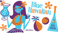 Shag Blue Hawaiian Sticker, Drink Recipe, Hula Girl, Lei, Tiki Drink Bar Image
