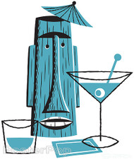 Shag Turquoise Tiki Drink Sticker, Martini, Decanter, Glass, Moai, Image