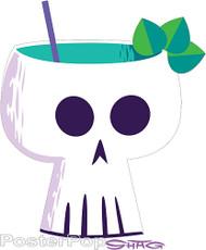 Shag Skull Tiki Drink Mug Sticker Image