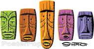 Shag 5 Tiki Masks Sticker, Rainbow, Expressions, Artist Shag Tiki, Characters, Josh Agle, Tiki, Image