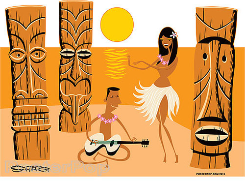 Shag Tiki Beach Sticker, Hula Dancer, Guitar, Ukelele Player, Sunset, Moon Image