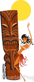Shag Hula Tiki Sticker, Hula Girl, Tiki, Sunset, Hump Image