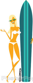 Shag Surfer Girl Sticker, White Bikini, Tan Lines, Sexy, Surfboard, Surf, Beach Image