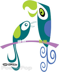 Shag Birds Sticker, Love Birds, Parrot, Branch, Shag Characters, Colorful Image