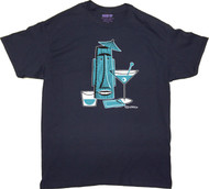 Shag Turquoise Tiki Drink T Shirt. Josh Agle Tiki Mug Design on Navy Blue Mens T-Shirt. Image