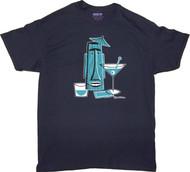 Shag Turquoise Tiki Drink T Shirt. Josh Agle Tiki Mug Design on Navy Blue Mens T-Shirt. Image