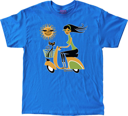 Shag Sun Scooter T Shirt Josh Agle Vespa Scooter Shag Girl and Shag Cat with Cartoon Sun Design on Sky Blue Mens T-Shirt. Image