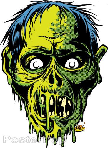 Dirty Donny Zombor Sticker Skull Green Zombie Image