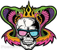 Dirty Donny Mind Melter Sticker, Cobras, Flaming Skull