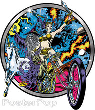 Dirty Donny Blacklight Rebellion Sticker, Motorcycle, Skeleton Biker, Cosmic, Queen, Unicorn