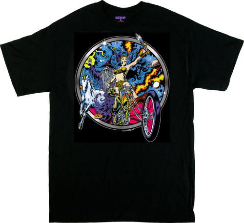 Dirty Donny Blacklight Rebellion T-Shirt, Frazetta, Biker, Chopper, Skeleton, Cosmic, Unicorn