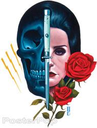 Gustavo Rimada Ultraviolence Sticker, Half Skull, Half Girl Switchblade Roses