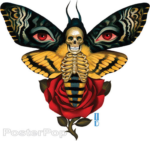 Gustavo Rimada Death From Above Sticker, Moth, Skeleton, Skull, Butterfly, Eyes