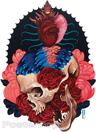 Gustavo Rimada Born From Water Sticker, Skull, Heart, Nautilus, Waves, Roses, Eye