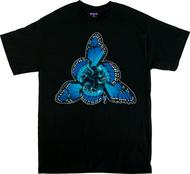 Gustavo Rimada Tres Puntos T Shirt, Blue Butterflies, Wings, Skulls
