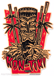 Artist Vince Ray Kon-Tiki Poster Pop Die Cut Sticker