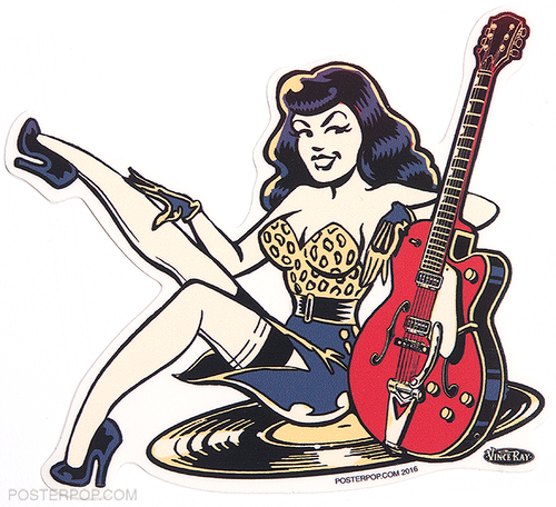 Vince ray rockabilly gal die cut poster pop sticker