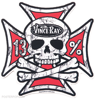Vince Ray Iron Cross Skull Die Cut Poster Pop Sticker