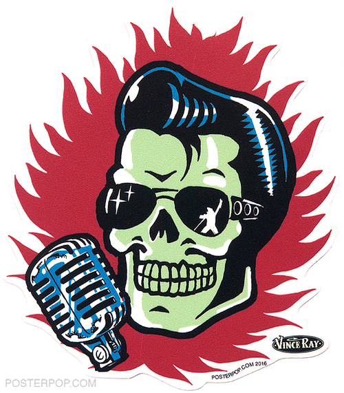 Vince ray elvis skull die cut poster pop sticker