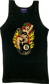 Vince Ray Classic Lady Luck Womans Tank Top Lucky Lady with 4 Leaf Clover, Monkey Wrench, 8 Ball, and Flames