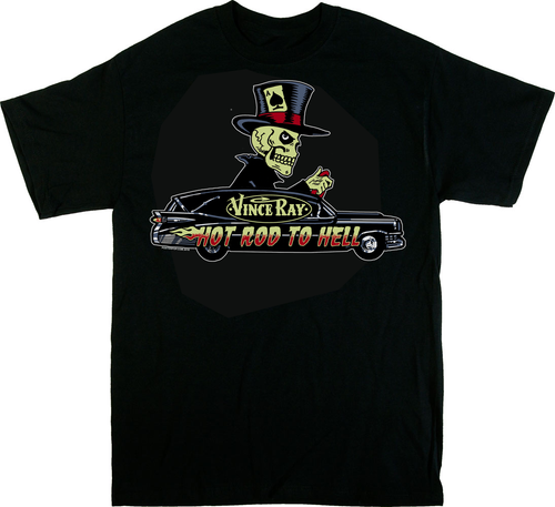Vince Ray Hearse T-Shirt Back Print Skeleton Skull Driver with Top Hat, Ace of Spades, Hot Rod to Hell, 13, Rockabilly