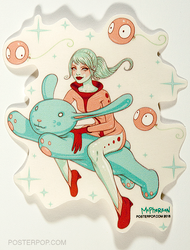 Artist Tara McPherson Bunny Rider Sticker. Girl Riding Bunny Space with Wiggle Balloons.