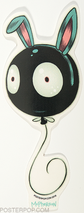 Artist Tara McPherson Wiggle Bunny Poster Pop Sticker, Floating Balloon, Eyes, Face Mr Wiggles
