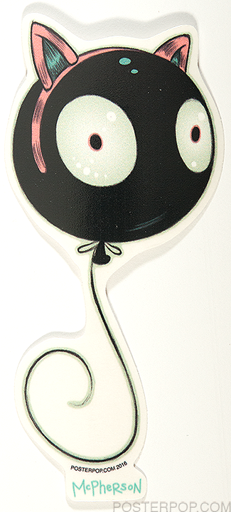 Artist Tara McPherson Wiggle Kitty Poster Pop Sticker. Mr Wiggles Balloon with Eyes, Face, Cat Kitty Ears