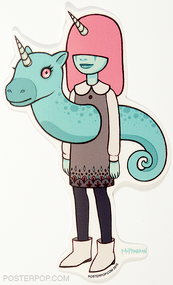 Artist Tara McPherson Stella and Flux Poster Pop Sticker. Unicorn Horn Girl with Seahorse, Unicorn thru Heart